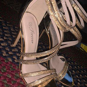 Gold Rhinestone Heels by Forever style Curious-23